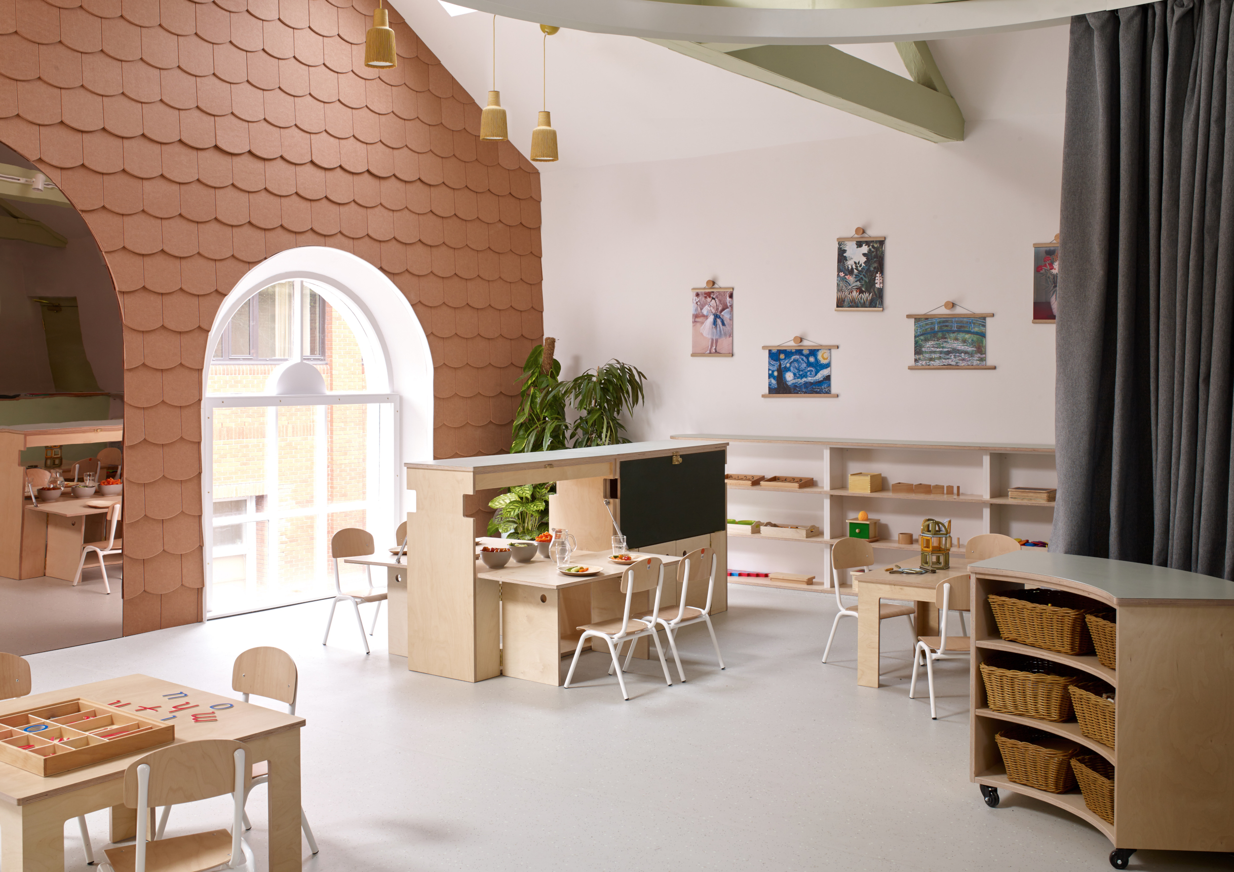The interior of one of our nursery rooms at Twickenham, with multiple areas for children to learn and explore