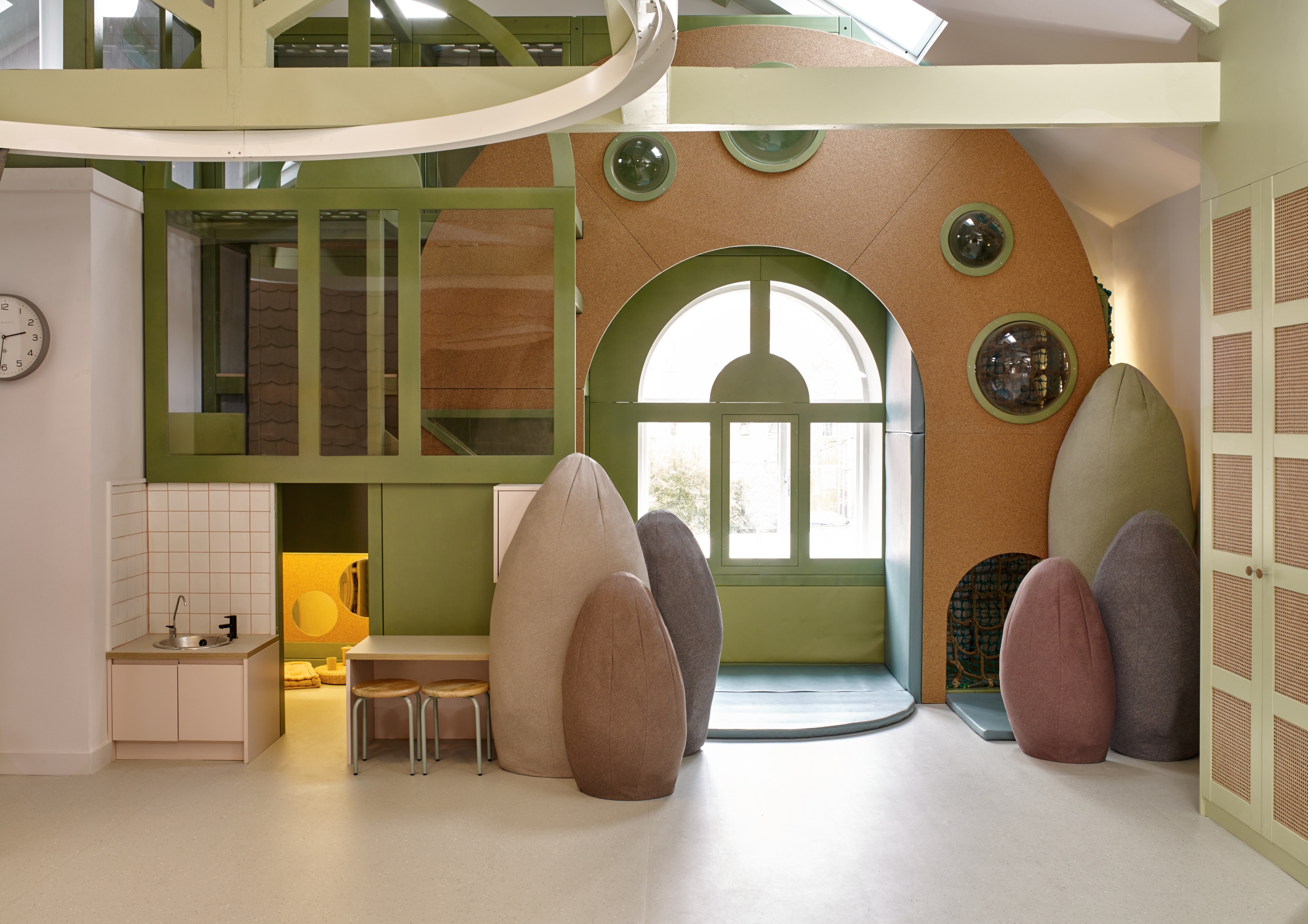 More parts of the new refurbishment of the nursery, including a new play area for kids to try out